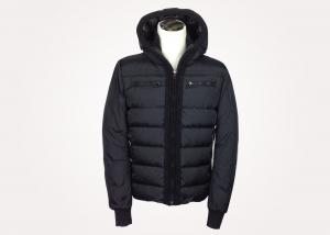 China Black Hooded Mens Padded Winter Jackets with Knitted Collar and Bottom on sale