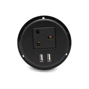 China Smart British Furniture AC Black Round Power Socket Embedded Installation on sale