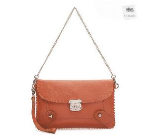 China Brown Mini Leather Crossbody Handbags for Women With Twist Lock on sale
