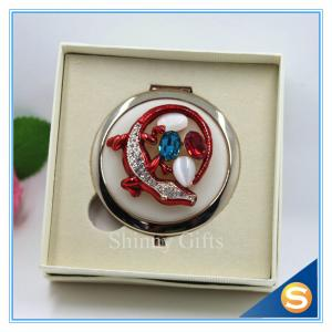 China Shinny Gifts Crystal Animal Design Folding Double Side Make up Mirror Metal Compact Mirror on sale