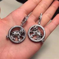 C Earrings full of diamonds leopar  white gold yellow gold rose gold diamond earring  Jewelry factory in Shenzhen, China