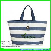 LUDA Paper Straw XL Market Bag with Colorful Bands Beach Tote Carryall Handbag