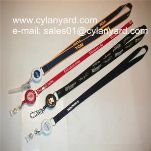 China Id badge neckstrap with epoxy dome retractable pull reel, on sale