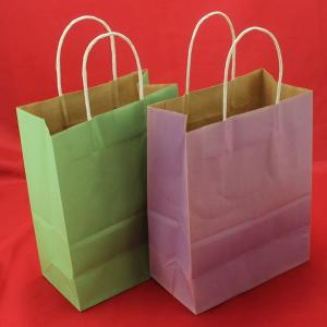 China Foldable Green kraft paper bag , Recyclable twisted handle paper bags on sale