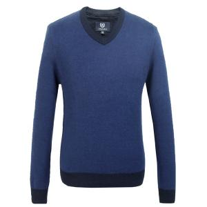 China Blue Oxford Mens Cotton sweaters / boys v neck sweater in all size on sale