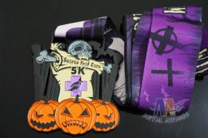 Quality Halloween And Taekwondo, Shooting Sports Metal Award Medals With Colors And Black Nickel Plating for sale