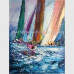 Abstract Palette Knife Sailing Boats Paintings, Hand Painted Thick Oil Canvas Art