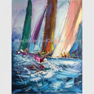 China Abstract Palette Knife Sailing Boats Paintings, Hand Painted Thick Oil Canvas Art on sale