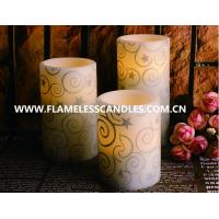 Glitter Pattern Flameless LED Pillar Candles for Birthday  Party Decoration , 2 X AA Battery