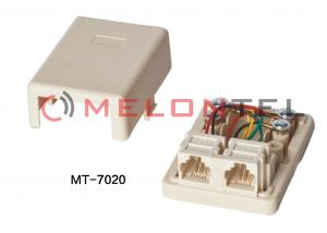 China 2 Port RJ11 Surface Mount Box Ivory , RJ11 wall outlet, RJ11 surface mount box on sale