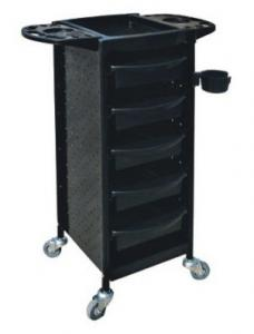 China All Black Salon Rolling Cart With Dryer Hold With Folding Trays , 94*39*40cm Size on sale
