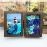 Luxury Gift Walnut Wood Photo Frame Preserved Flower Photo Frame For Lover Home Decoration