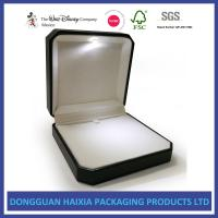 Compact Size Leather Jewelry Box Black PU And White Velvet Materials