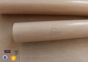 China 0.11mm 245gsm Brown PTFE Teflon Coated Fiberglass Fabric Cloth Plain Weave on sale