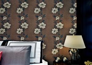 China Floral Interior House Decoration Wallpaper With Non Woven Materials , Brown Color on sale
