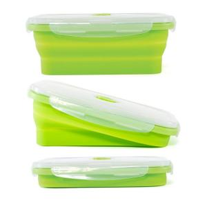 China Refrigerated Refrigerator Storage Soft Silicone Sectioned Green Healthy Lunch Box for office with personal logo 4 compartments on sale