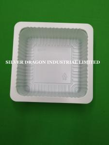 China Food grade white plastic PP containers for tofu packing, dimension 139x139x38mm,film closure on sale