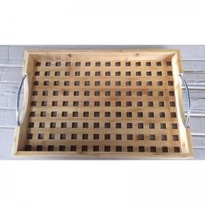 China bamboo wood serving tray with metal handle on sale