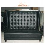 meubles en cuir noirs contemporains de cabine de restaurant, cabines en bois de restaurant