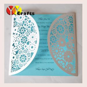 China Paper lace floral wedding and festival invitation cards and handmade greeting cards with the bow on sale