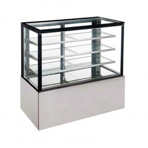 China Luxury Square Cake Display Fridge , Refrigerated Dessert Display Case Anti Fog supplier