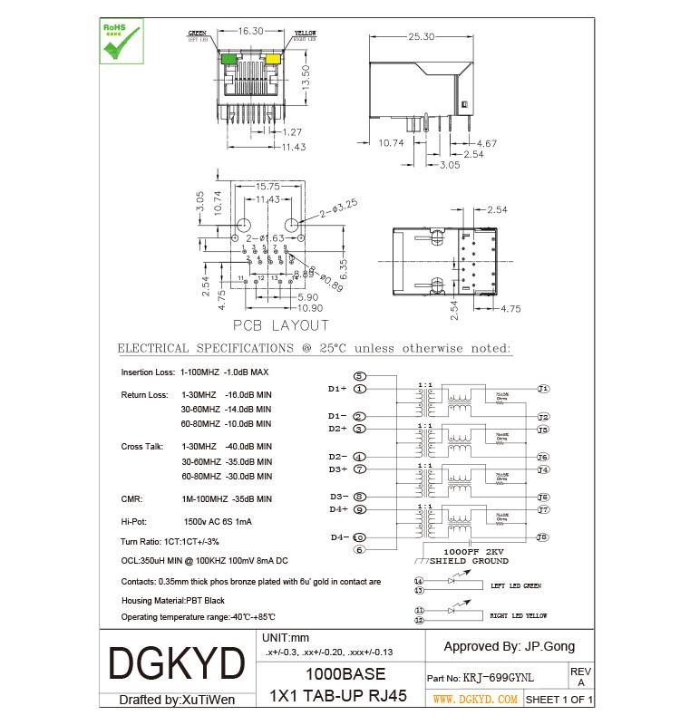 Metal shielded cat6 rj45 connectors , 1000 Gigabit female rj45 ...