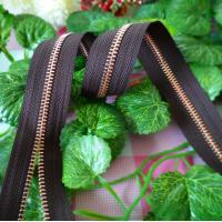 No.5 Long Chain Metal Zippers With Black Tape , decorative zipper For Luggge