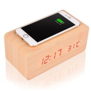 China Multi Functional Wooden Alarm Clock , Wireless Cell Phone Charger With Timer Thermometer on sale