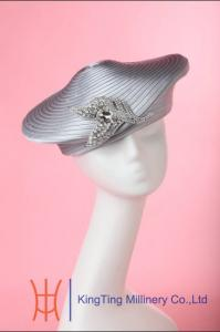 0de8475f6ca17 ... Quality Beret Red   Silver Satin Braid Ladies Church Hats