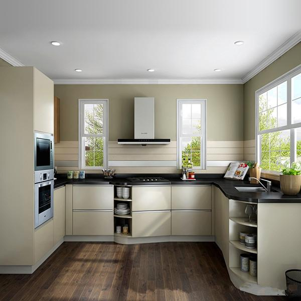 High Gloss Laminate Solid Wood Kitchen Cabinets Open Shelf Kitchen