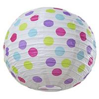 China Dots Round Paper Lamp Lanterns , 12 Inch Paper Hanging Lanterns For Patriot'S Day on sale