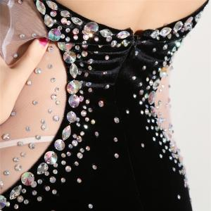 China Black Prom Ladies Evening Dresses , Leaking Back Velvet Night Dress For Advanced Cocktail Party on sale