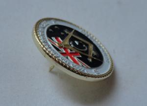 3D Brass Stamping AF & AM Lapel Pin, Rope Edge Soft Enamel Pin with