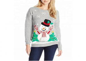China Women Cute Sweater Pullover Ugly Grey Christmas Funny Snowman Pattern on sale
