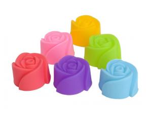 China Rose Flower Mini Cupcake Silicone Baking Mold on sale