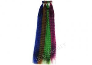 China Striped Straight Colored Synthetic Plume Feather Hair Extensions for Lady on sale