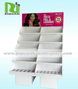 China Fashion Cosmetic Cardboard Floor Display Stand Upright Design on sale