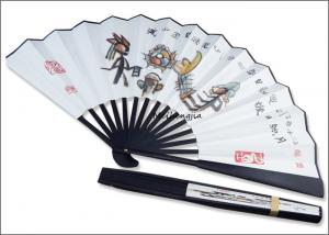 China 13 Chinese National totem style big size option bamboo hand fan Chinese rice paper fan on sale