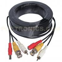 5-50 Meters Black/White Color CCTV Pre-made Siamese Video, Audio and Power Cable