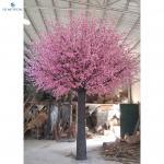 Decorative Plastic Large Artificial Peach Blossom Tree Custom Color