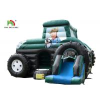 Slide Combo Green Agricultural Car Inflatable Jumping Castle For Rent 1 - 2 Years Warranty
