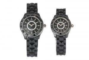 China Couple Wrist Watches, Black Ceramic Ring Surface Analog Watch Customized on sale