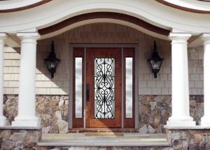 China Personal Style Spray Coating Wrought Iron Glass Door With Hot Dipfabricated on sale