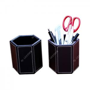 China Pen Stand PU Leather 9cm Office Stationery Holder on sale
