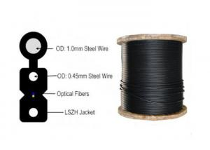 China 2 Core Indoor Fiber Optic Cable , FTTH Fiber Optic Network Cable FRP / Steel Wire on sale