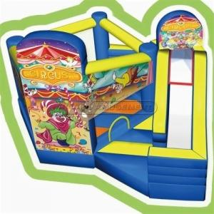China Cheer Amusement Children Indoor Playground Circus Inflatable Bouncer And Silde Combine on sale
