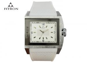 China Fitron Brand Square Men'S Watches , Big Face White Silicone Band Watch on sale
