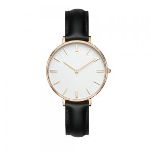 China Fashion SS Leather Strap Watches Womens Egg White Face Dial Custom Logo on sale