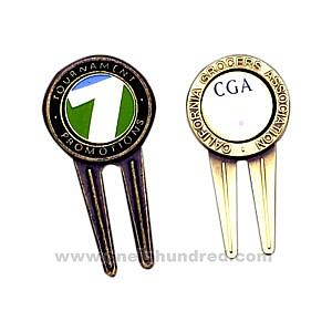 China silver, Antique silver lating Finish Zinc Alloy Golf Divot Tool casting & polishing Custom Ball Markers on sale