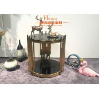 China Metal Side Table for Hotel Living Room Contemporary Tempered Glass Top on sale